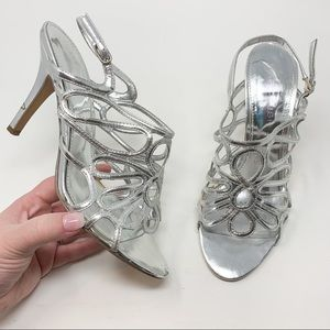Marc Fisher Frannie 2 Metallic Silver Strappy Heel